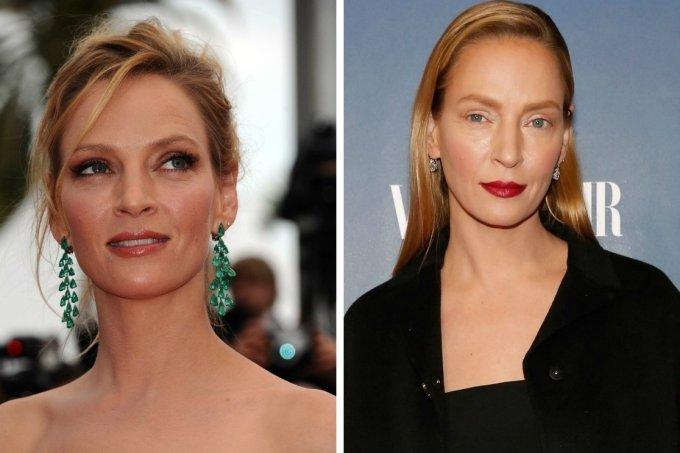 O antes e depois de Uma Thurman. Foto: Getty Images