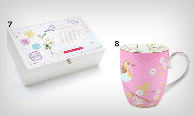 Caixa de chá e caneca de passarinhos