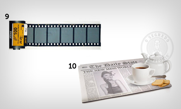 Jogo americano e caminho de mesa de revelação de filme