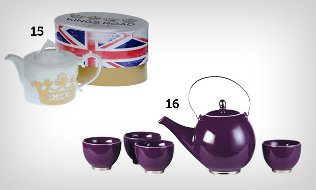Jogo de chá roxo e chaleira de coroa