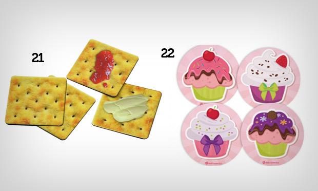 porta copos de bolacha e cupcakes