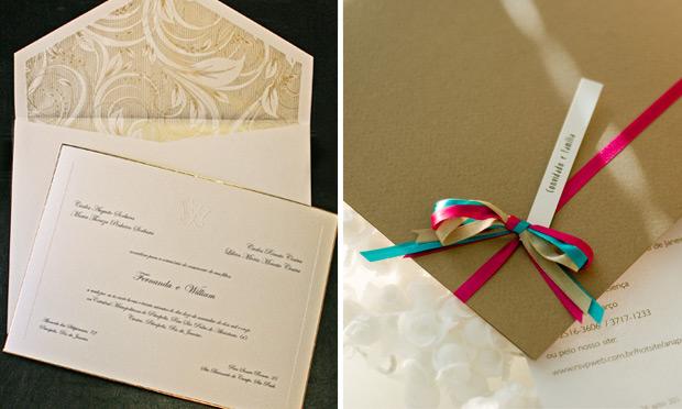 Convite de casamento com envelope diferente