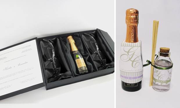 Convite de casamento com champanhe