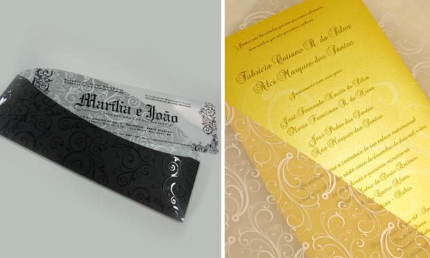 Convite de casamento com papel especial