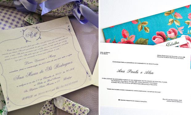 Convite de casamento com estampas da festa