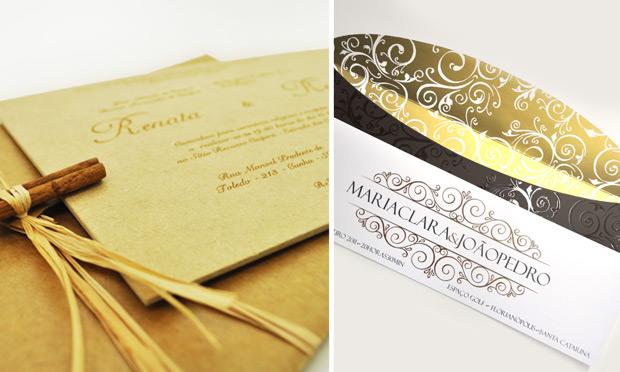 Convite de casamento com envelope especial