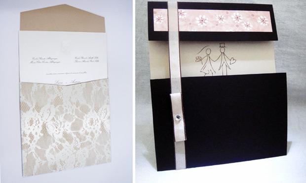 Convite de casamento com envelope trabalhado