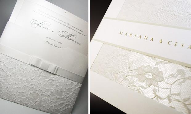 Convite de casamento com acabamento em tecido no envelope