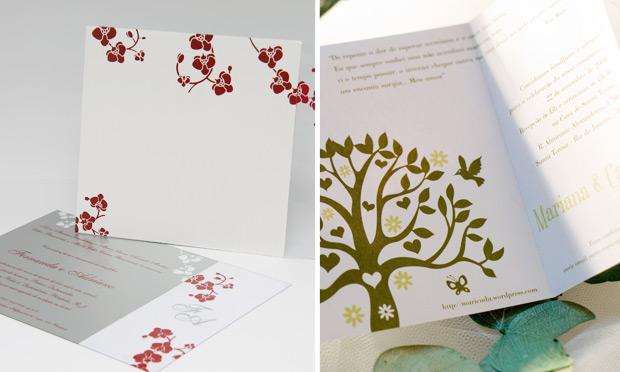 Convite de casamento com ilustração