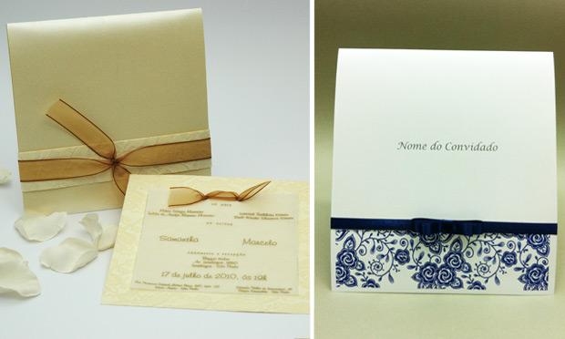 Convite de casamento colorido discreto