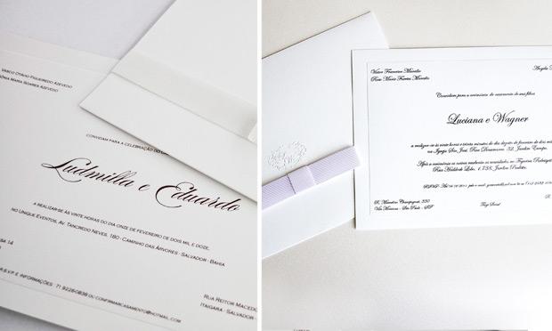 Convite de casamento com laço chanel