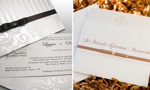 Convite de casamento com laço chanel colorido