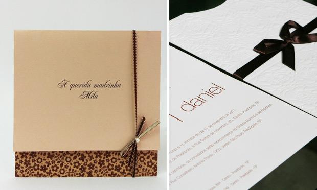 Convite de casamento com laço charmoso