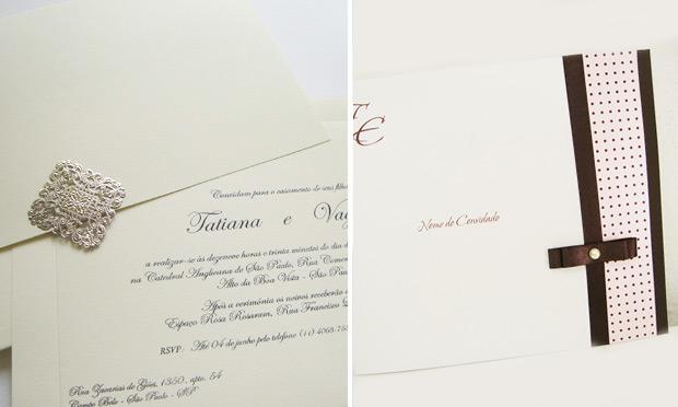 Convite de casamento fechado com estilo