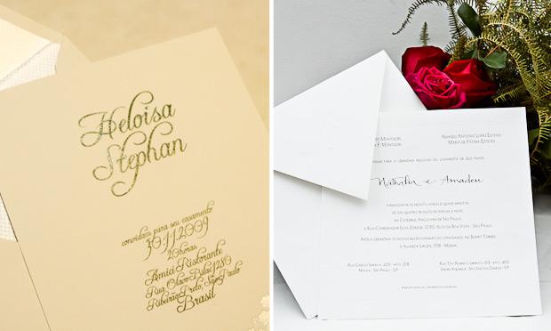 Convite de casamento com caligrafia especial