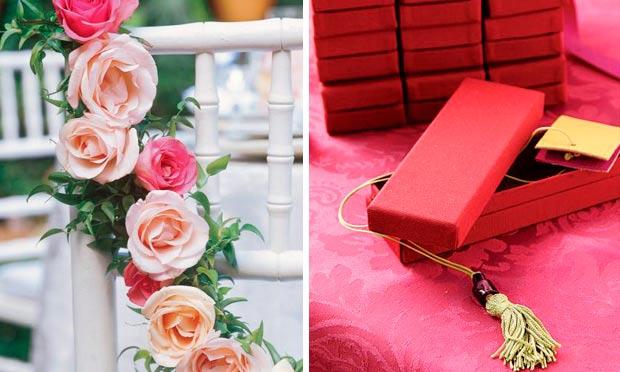 Lembrancinha em rosa pink e guirlanda de rosas enfeitando assento da cadeira