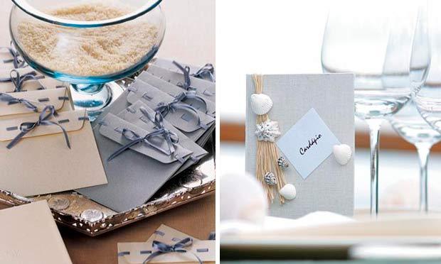 Cardápio com conchas e cartõezinhos em azul e bege para os convidados