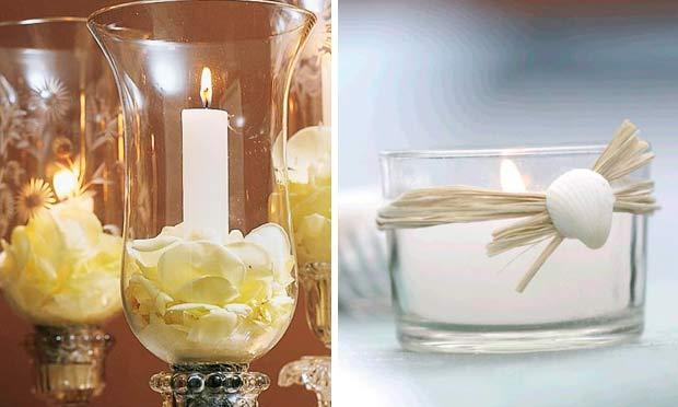 Velas em castiçais de vidro e indivual com fita