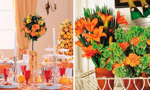Mesa decorada em laranja com arranjo de limões e laranjas e narcisos