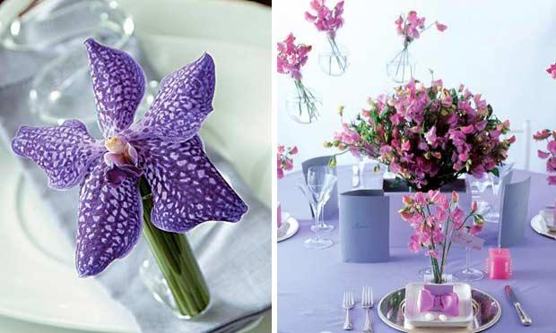 Orquídea roxa decorando os pratos e vasos pendurados com flores lilás