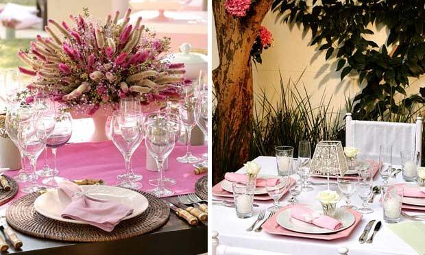 Decorações em tons rosa e lilás, com sousplat de palha