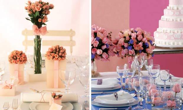 Arranjos de rosas em diferentes alturas e com decoração de toalhas lilás