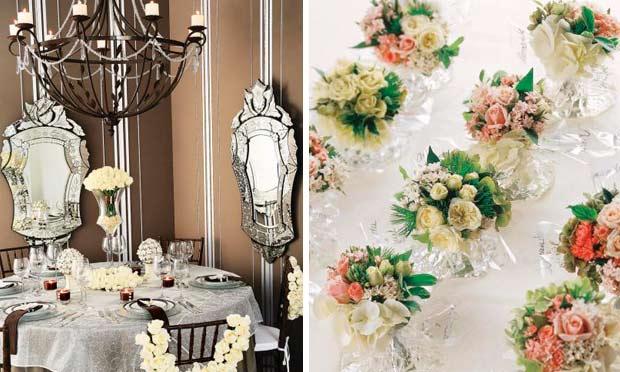 Ambiente decorado com espelhos, em tom marrom e flores brancas e minibuquês de rosas