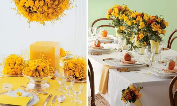 Decorações em tons amarelos nas flores