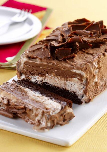 Gelado de brownie e sorvete