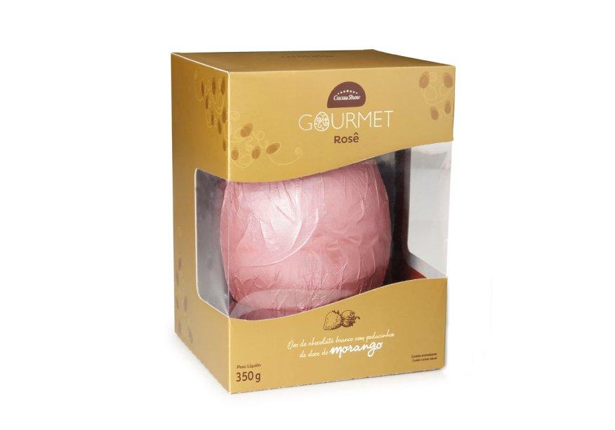 Ovo Gourmet Rosê (330g) de chocolate branco com pedaços de geleia de morango, Cacau Show, a partir de R$ 42,90*