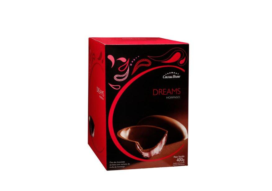Ovo Dreams Morango (400g) de chocolate ao leite recheado com trufa de morango, Cacau Show, a partir de R$ 46,90*