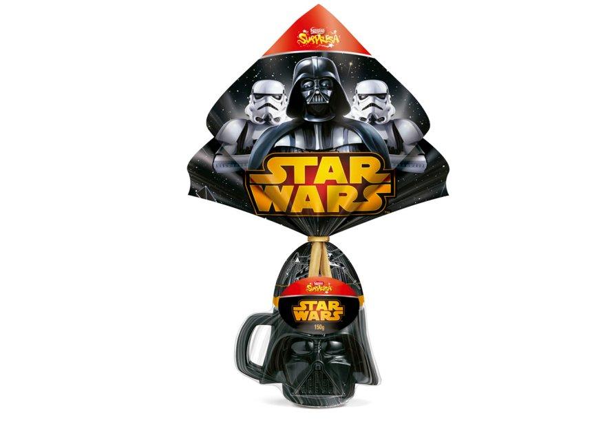 Ovo Star Wars (150g) de chocolate ao leite com caneca do Darth Vader ou Stormtrooper, Nestlé, R$ 49,90*