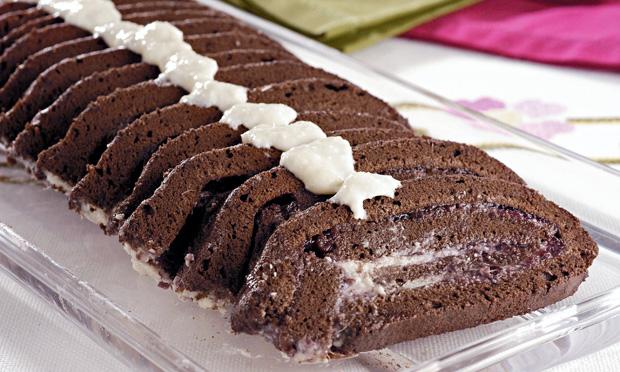 Enrolado de chocolate diet