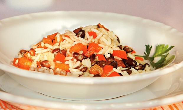 Feijão e arroz com bacon
