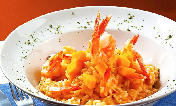 Risoto de camarão e manga