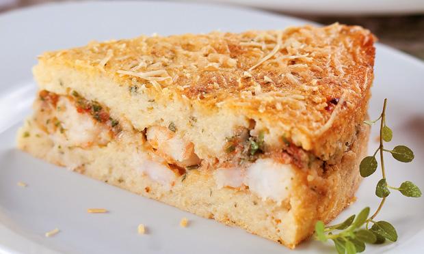 Torta rápida de batata e camarão
