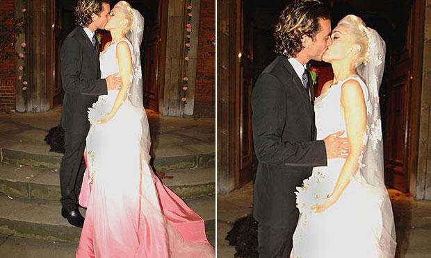 Vestido de noiva rosa Gwen Stefani