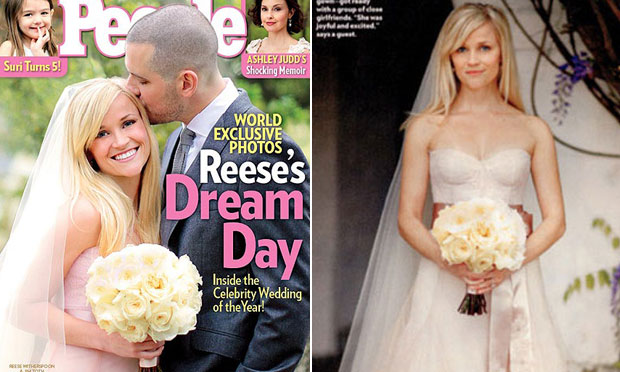 Vestido de noiva rosa Reese Witherspoon