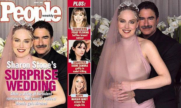 Vestido de noiva rosa Sharon Stone