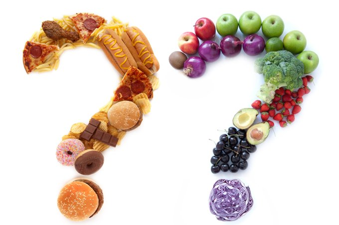 interrogação-de-junkfood-e-comida-saudável