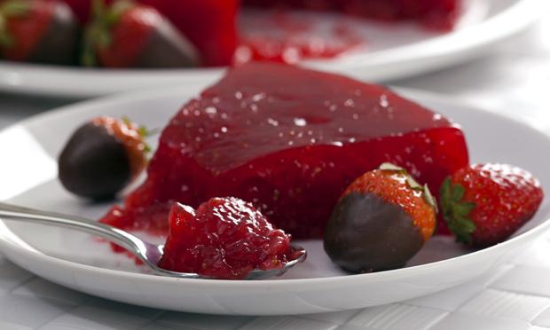 Gelatina com morango