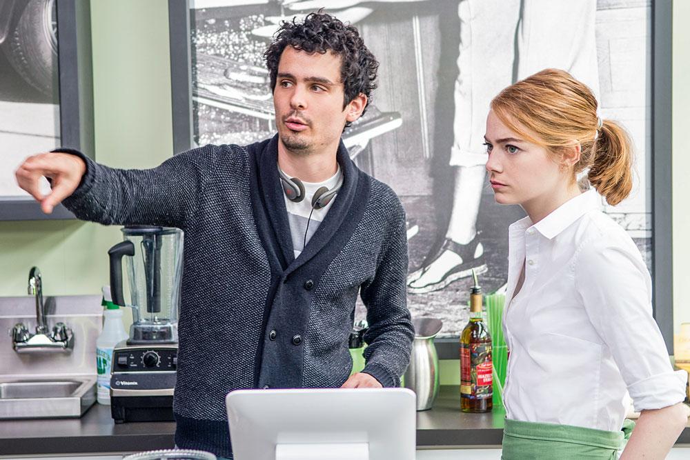 O americano Damiem Chazelle dirigindo a atriz Emma Stone (Mia) em La La Land