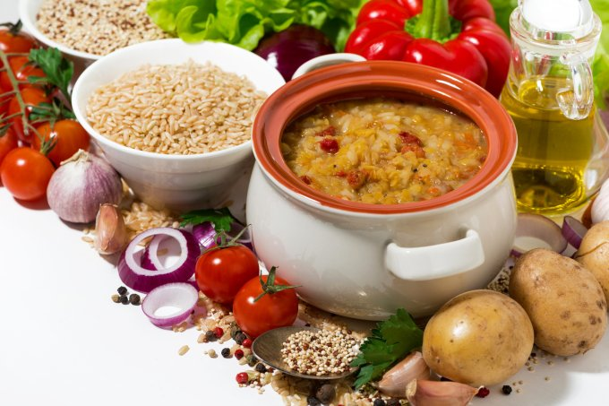 healthy soup with lentils and vegetables