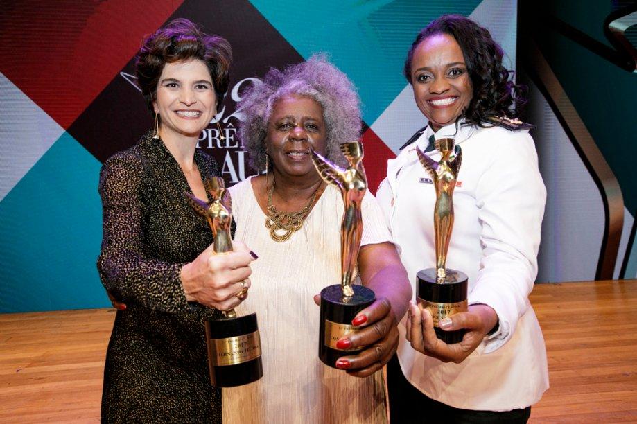 As vencedoras Fernanda Feitosa, de Negócios, Conceição Evaristo, de Cultura, e Denice Santiago, de Políticas Públicas