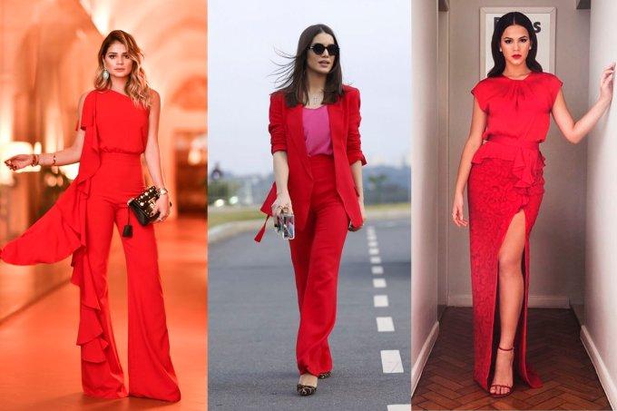 mulheres look vermelho total