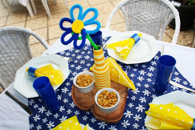 Decoração de festa infantil com tricotin
