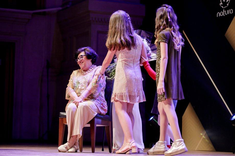 A autora Ruth Rocha foi a grande homenageada da noite com o prêmio Hors Concours pelo conjunto de sua obra