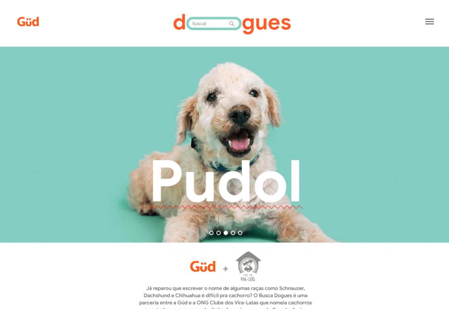 Página inicial do site Busque Dogues