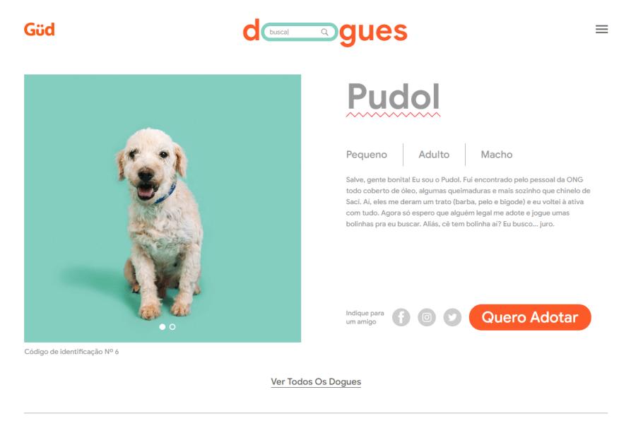 Página de informações de um dos cachorrinhos disponíveis