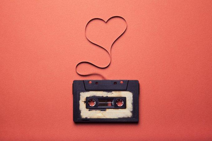 fita cassete coração romance